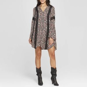 Boho floral bell sleeve tunic dress